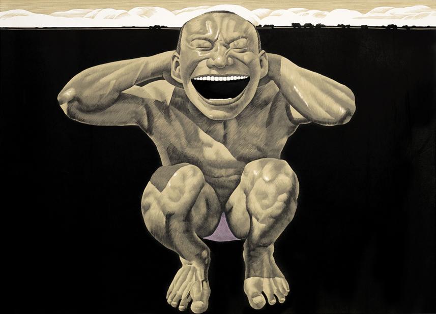 Grassland Series-Crouching Man-Woodcut